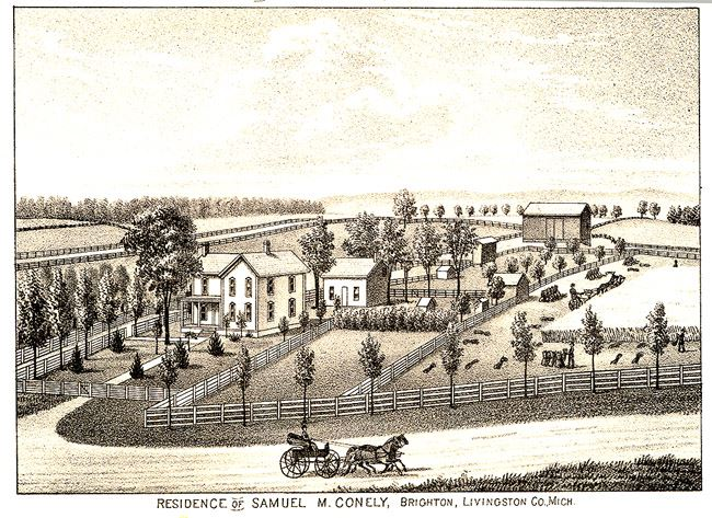 Residence of Samuel M. Conely, Brighton, Livingston Co. Mich illustration